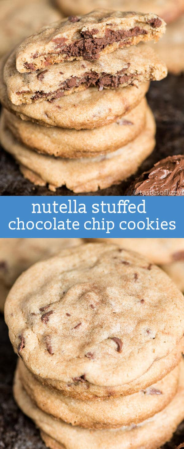 These soft, chewy Brown Butter Chocolate Chip Cookies Stuffed with Nutella are made with tons of chocolate chips and sea salt, creating the perfectly sweet and salty cookie.