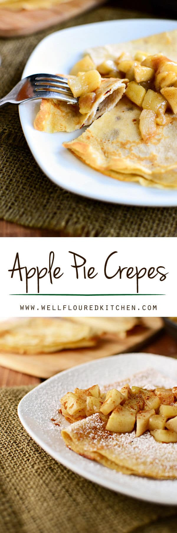 Whole wheat apple pie crepes stuffed with vanilla yogurt and topped with apple pie filling. A delicious, simple breakfast idea. Apple Pie Crepes {with White Whole Wheat Flour & Stuffed with Yogurt}