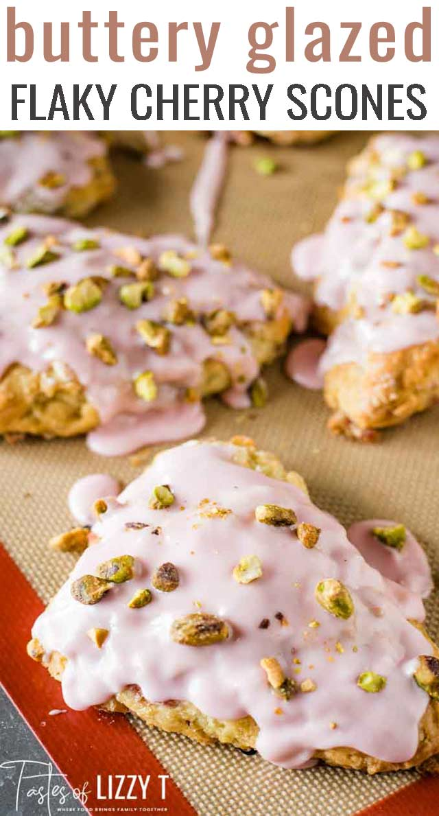 Learn how to make light, buttery, buttermilk scones. These flaky, glazed cherry scones are topped with salty pistachio nuts. via @tastesoflizzyt