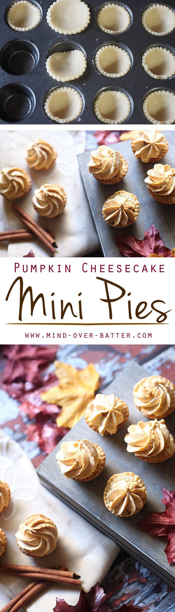 A flaky, buttery pie dough is piled high with a pillow soft pumpkin cream cheese filling. These Pumpkin Cheesecake Mini Pies are packed with pumpkin spice! Pumpkin Cheesecake Mini Pies {Easy Pumpkin Spice Dessert Recipe}