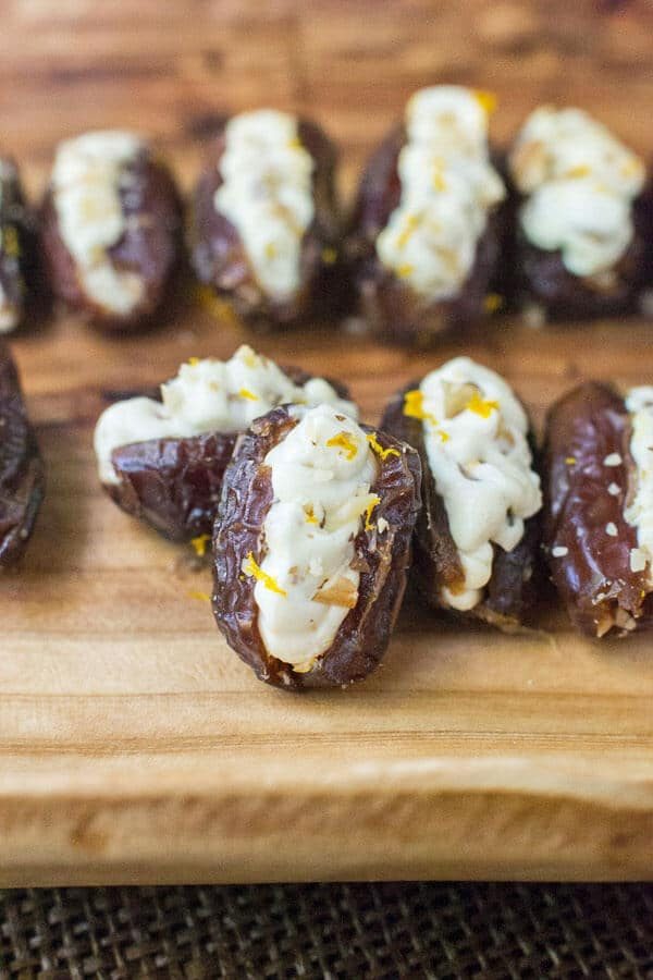 Dates stuffed with a lightly sweetened orange and honey cream cheese. Crunchy toasted walnuts