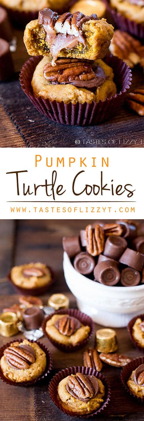 Your favorite chocolate candy dressed up into a pumpkin cookie for the holidays. Pumpkin Turtle Cookies are soft and gooey with a nutty pecan crunch. Pumpkin Turtle Cookies with Rolo Candies and Pecans