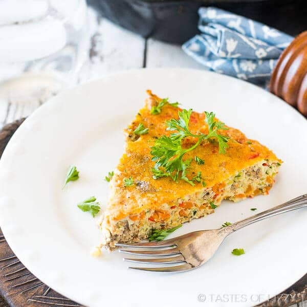 slice of vegetable egg frittata
