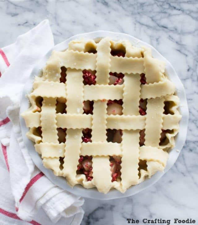 pear cranberry pie with lattice top
