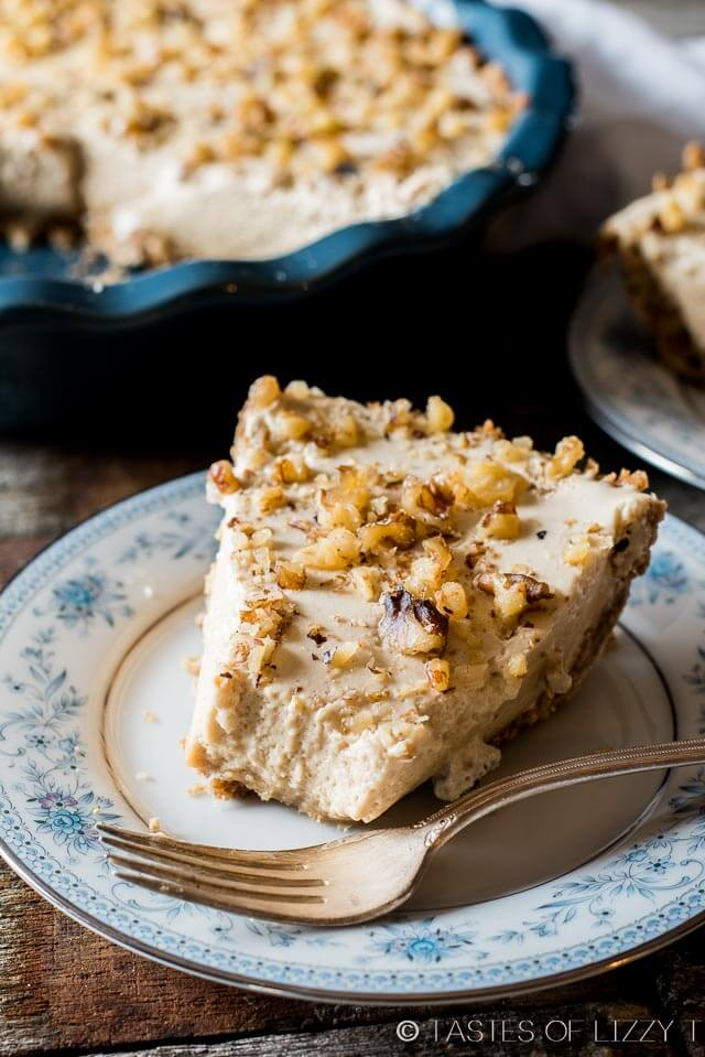 Easy Creamy Maple Nut Pie - Tastes of Lizzy T's