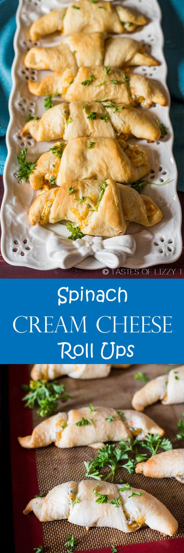 Crescent rolls stuffed with spinach, cheddar and cream cheese make a quick appetizer, lunch or snack. Get an extra dose of veggies!