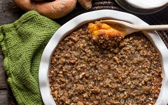 Sweet potato casserole with pecan pie streusel Thanksgiving Dinner ...