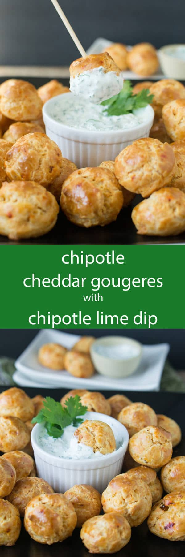 Crispy chipotle cheddar gougeres puffs flavored with chipotle and cheddar served with a cool cilantro lime dip. A great party appetizer!