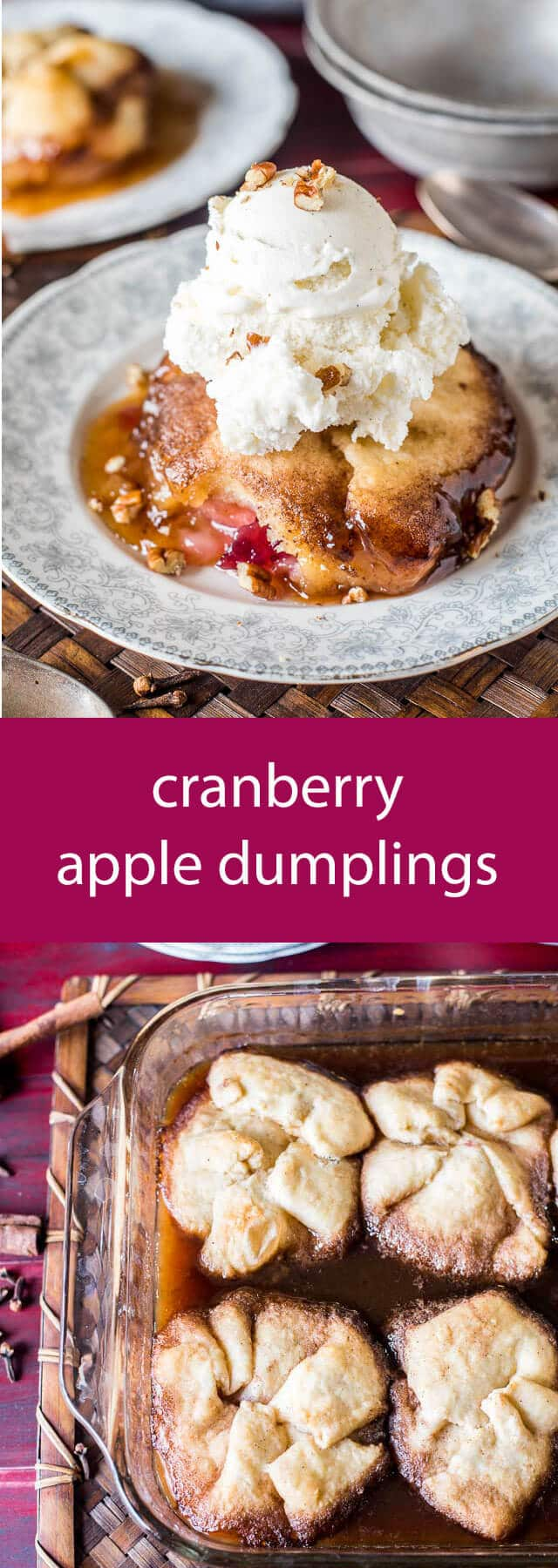 Whole cranberry sauce gives traditional apple dumplings a holiday tanginess. Serve these Amish Cranberry Apple Dumplings with a scoop of vanilla ice cream on top! A simple dough is wrapped around apple slices and cranberry sauce, then baked in a brown sugar syrup.