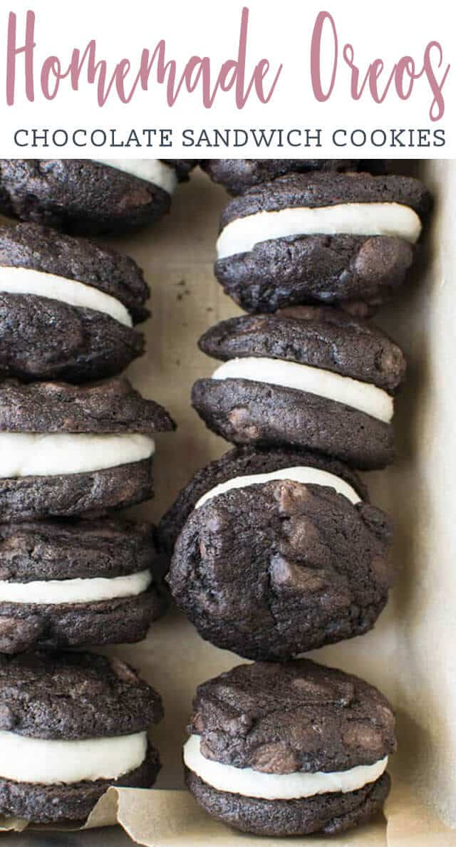 overhead view of chocolate sandwich cookies