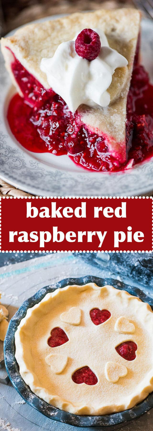 baked red raspberry pie / easy fruit pie / raspberry pie filling / homemade pie crust / double crust raspberry pie / easy raspberry pie