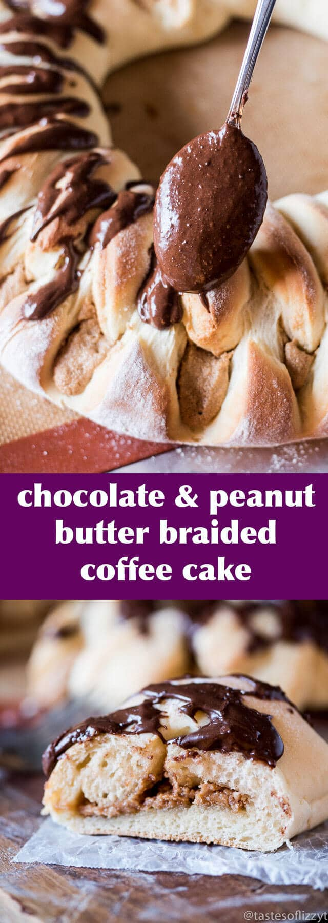 chocolate peanut butter braided coffee cake recipe / peanut butter stuffed bread / chocolate frosting / braided coffee cake ring / recipe