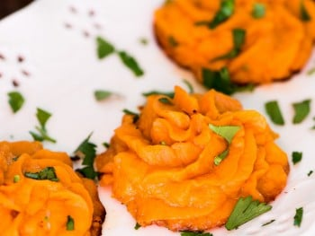 Twice Baked Sweet Potato Puffs
