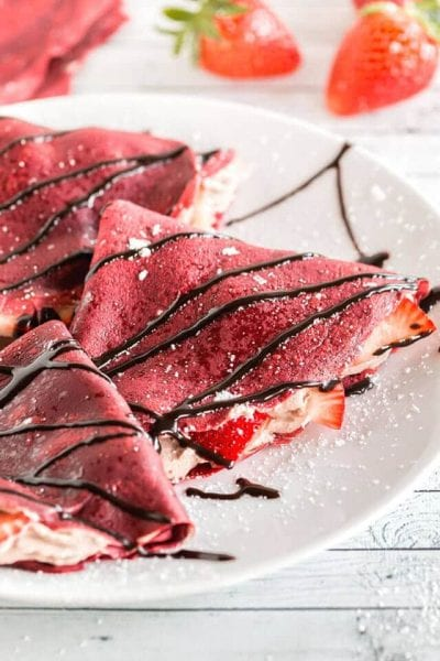 Red Velvet Crepes with Chocolate Whipped Cream