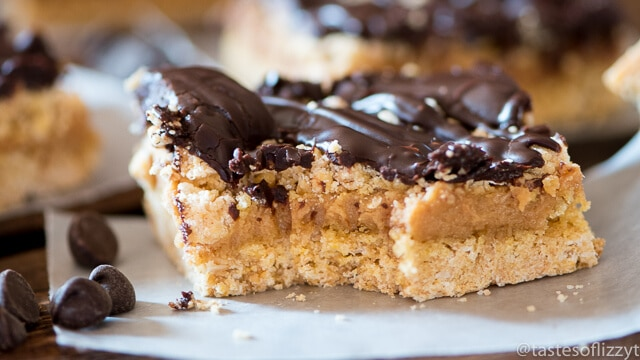 Chocolate Peanut Butter Ooey Gooey Bars - Tastes of Lizzy T's
