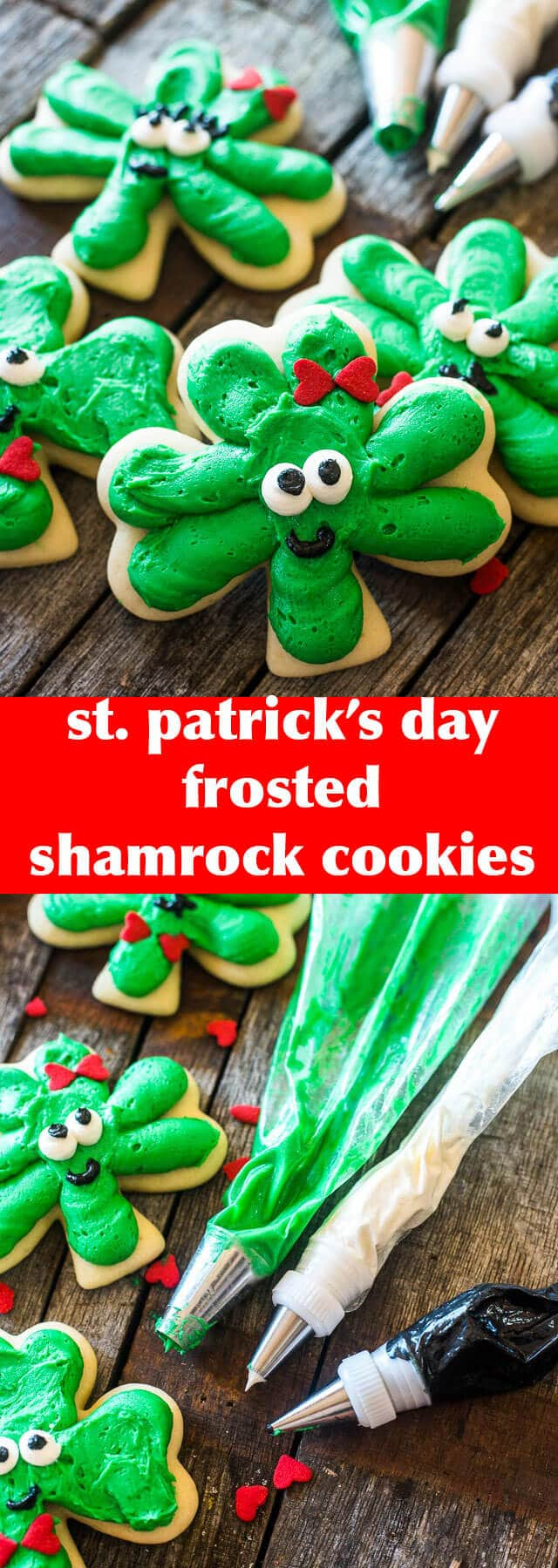 St. Patrick's Day Frosted Shamrock Cookies {3 Leaf Clover Cookie Tutorial} Mr & mrs Shamrock Cookies / Clover cookies / frosting / recipe
