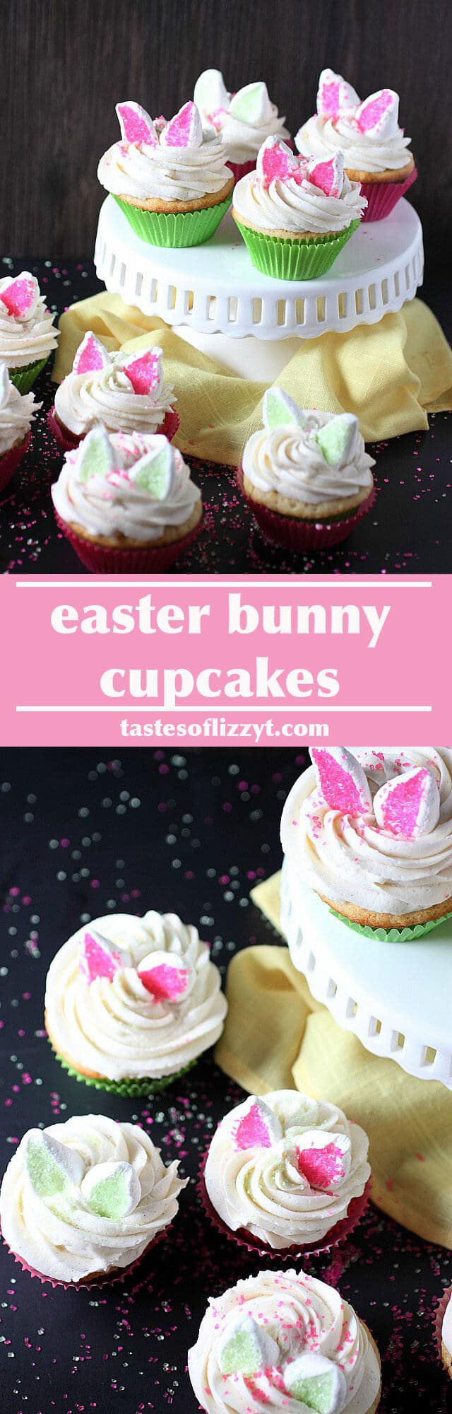 Easter Bunny Cupcakes recipe / easter cupcakes / bunny cupcake / easter dessert recipe / kids cupcakes / marshmallow bunny ears