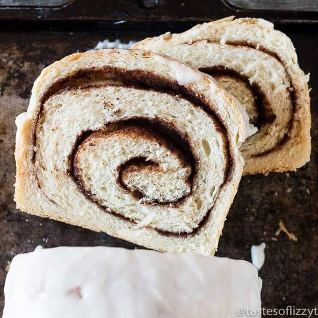 two slices of cinnamon swirl bread