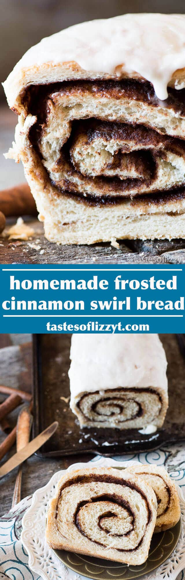 cinnamon swirl bread / homemade cinnamon bread / frosted cinnamon bread recipe / buttermilk cinnamon bread / grandma's bread recipe