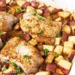 Pork Chop Potato Bake in a casserole