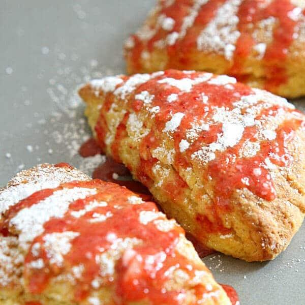 Lemon Scones with Strawberry Glaze