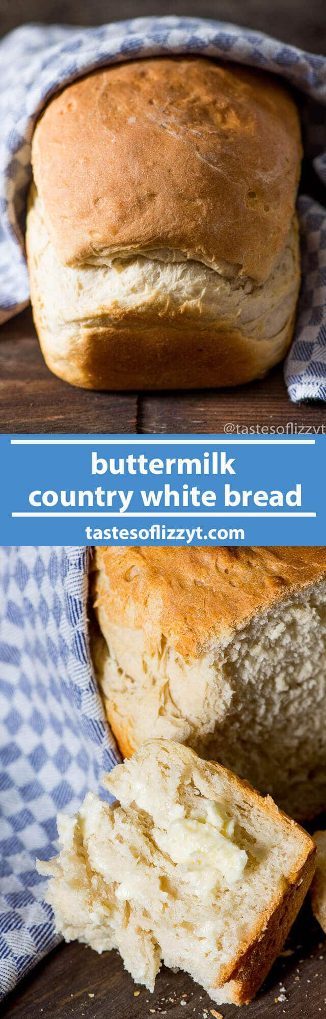 My grandma's recipe for a simple buttermilk country white bread. This is a thick, rustic bread with perfect texture and flavor. Make in the bread machine or by hand. easy homemade white bread / old bread recipe