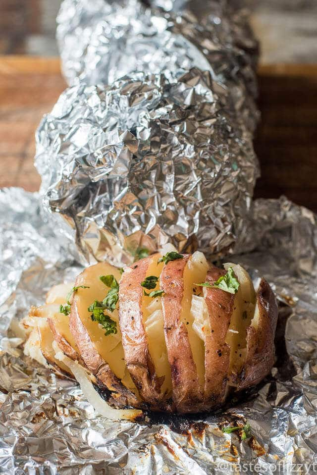 Hasselback Italian-Style Grilled Baked Potatoes with Onions