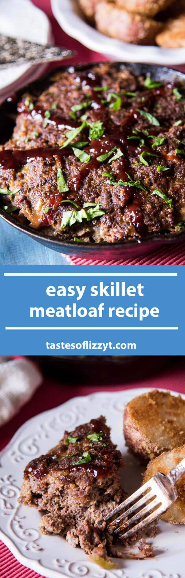 A classic Amish recipe. Just 7 ingredients in this easy skillet meatloaf with the tangy flavor of barbecue sauce. Decorate the top like a wagon wheel! easy dinner recipe / easy meatloaf recipe / amish recipe