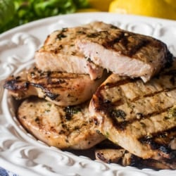 Grilled Basil Lemon Pork Chops