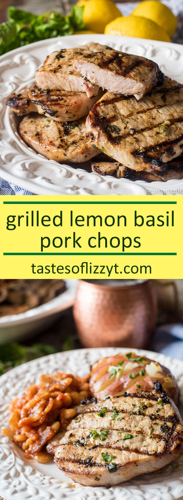 An easy, 4-ingredient marinade makes for the most tender Grilled Basil Lemon Pork Chops. Throw ingredients together in under 5 minutes, marinate, and grill! paleo recipe, whole30 recipe idea / whole30 picnic