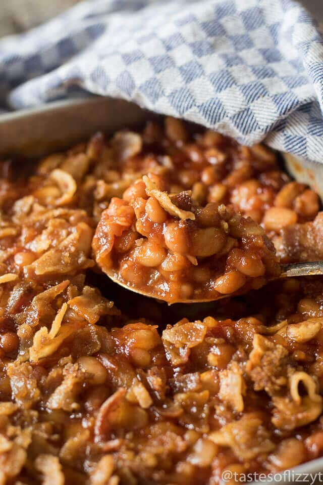 ... Three Bean Baked Beans with bacon and a sprinkling of brown sugar