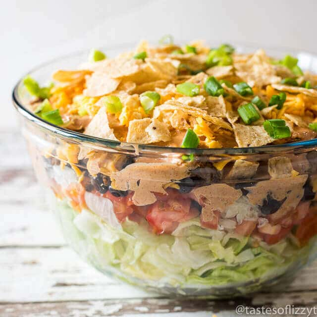 bowl of layered mexican salad