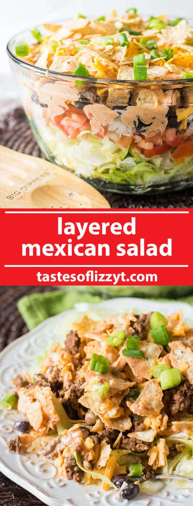A simple Mexican salad with layers of veggies, seasoned ground beef, cheese, crunchy tortilla chips and a special 3-ingredient sauce. easy salad recipe / mexican salad / mexican salad dressing / easy summer dinner recipes