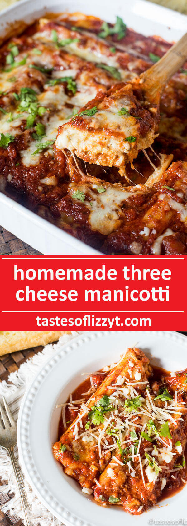 A simple cheese filling and rich, hearty spaghetti sauce make this three cheese manicotti a comforting family dinner. Serve with a side salad and garlic bread. easy italian casserole / vegetarian casserole recipe
