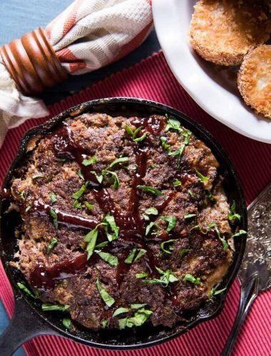 A classic Amish recipe. Just 7 ingredients in this easy skillet meatloaf with the tangy flavor of barbecue sauce. Decorate the top like a wagon wheel!