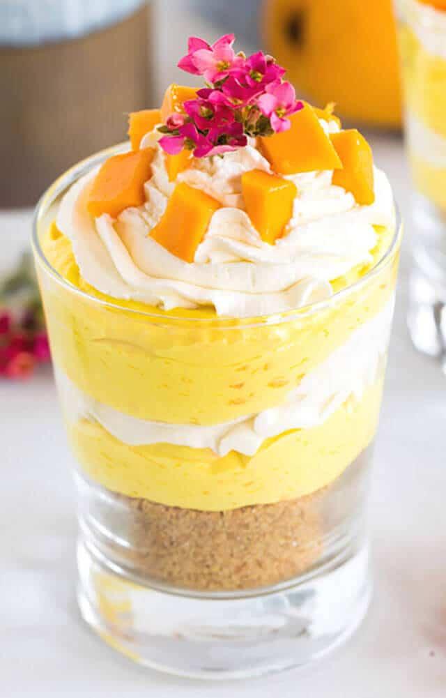 Individual No Bake Mango Cheesecake Trifles