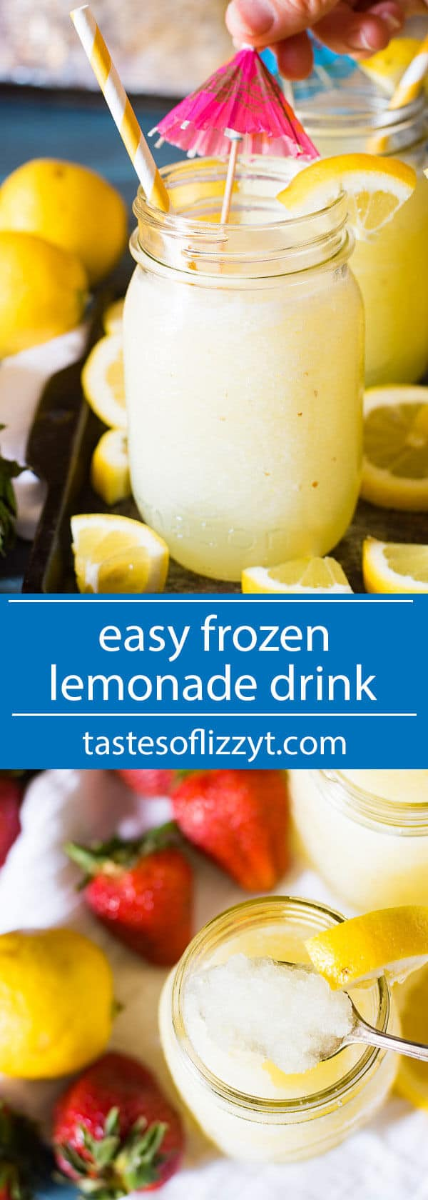 Cool down with this easy frozen lemonade drink at your next picnic. Uses fresh lemon juice and is easily sweetened to your tastes. Throw in some strawberries for a strawberry lemonade flavor! how to make frozen lemonade / summer kids drink / summer drink for kids