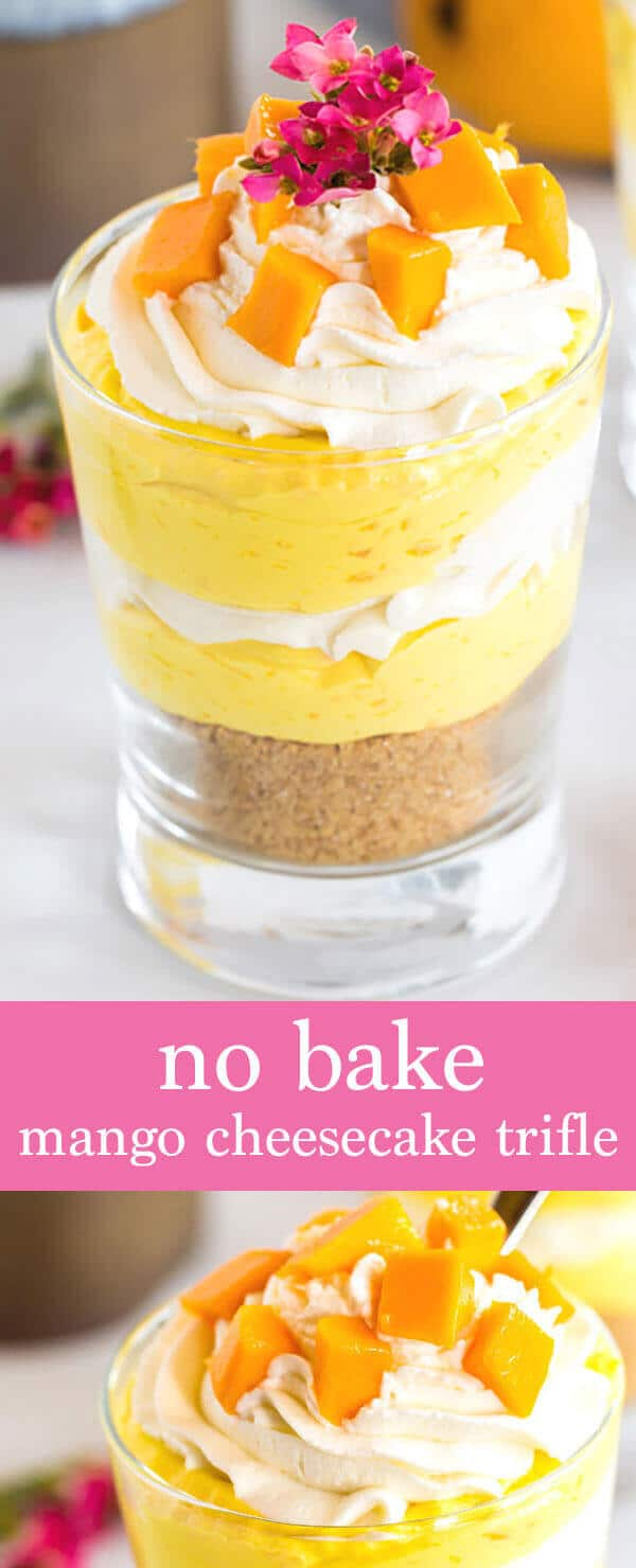 Creamy mango cheesecake, freshly whipped cream and topped with fresh mangoes, what's not to love? The perfect no bake summer dessert.