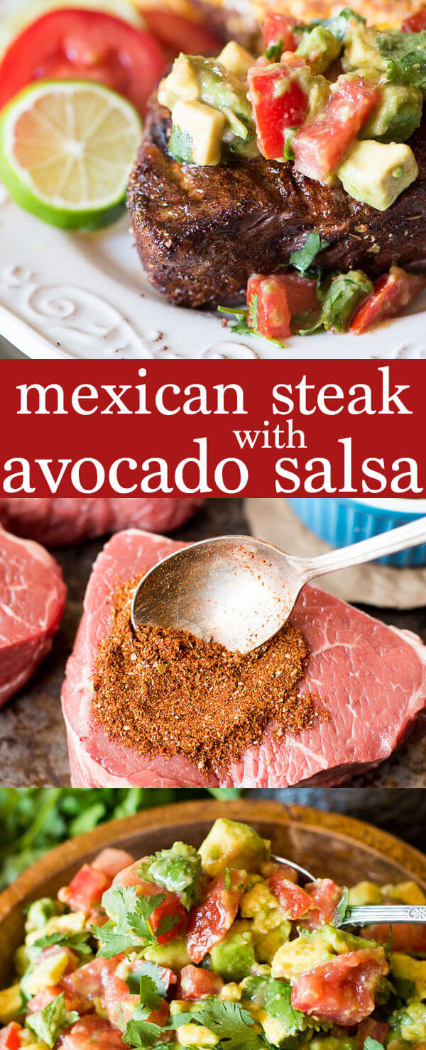 An easy spice blend makes this Mexican steak a quick, healthy dinner solution. Top with cream avocado salsa. Paleo and Whole30 recipe idea! how to grill steak /  how to cook steak