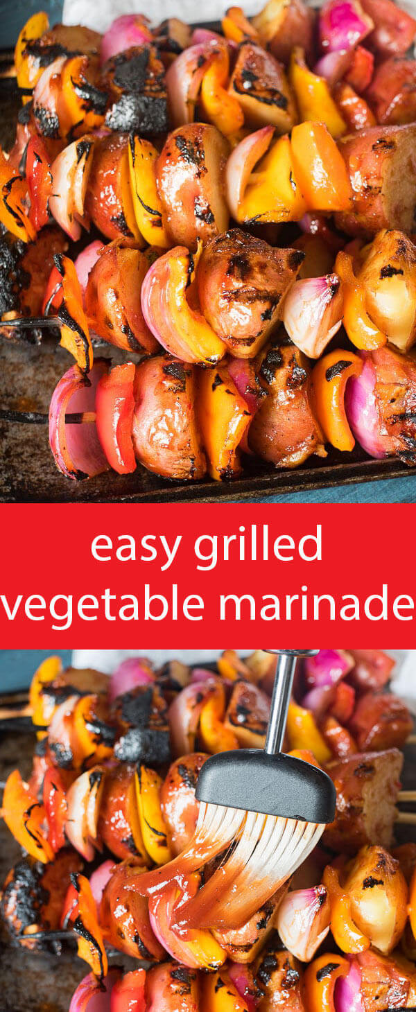 Just two ingredients make up the sauce in this easy grilled vegetable marinade. Add potatoes, peppers, onions and zucchini. Add all your favorite veggies!