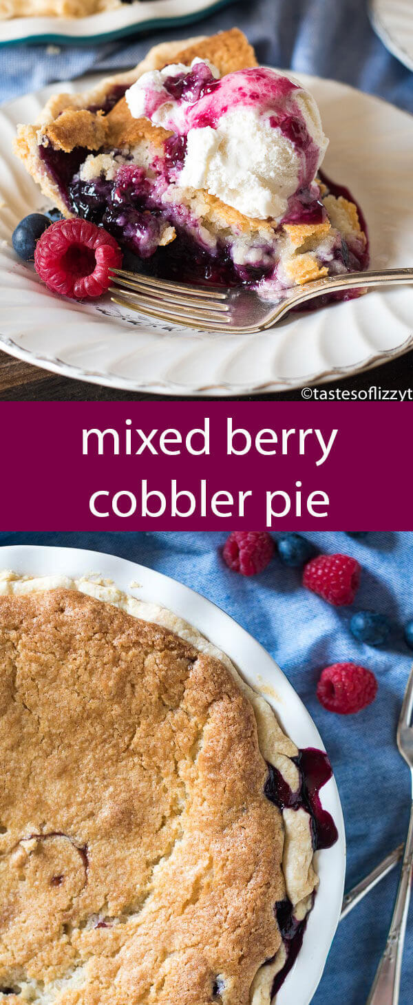 Is it a cobbler or is it a pie? It's the best of both worlds! Mixed Berry Cobbler Pie made with fresh blueberries and raspberries. Top with ice cream for a beautiful presentation.