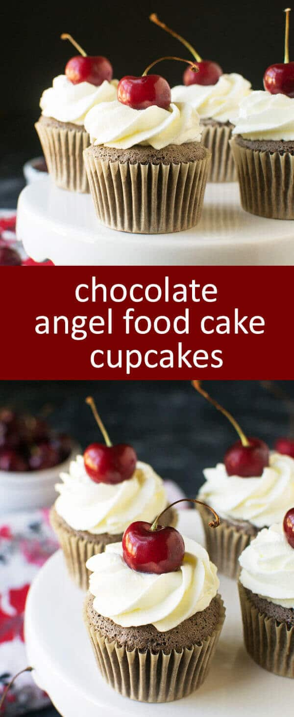 Chocolate Angel Food Cupcakes with Whipped Cream and Cherries