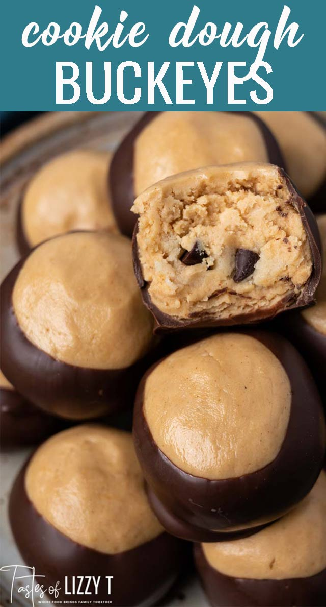 These Cookie Dough Buckeyes look like your traditional chocolate coated buckeye, but have a cookie dough surprise in the middle! via @tastesoflizzyt