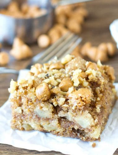 slice of apple butterscotch snack cake