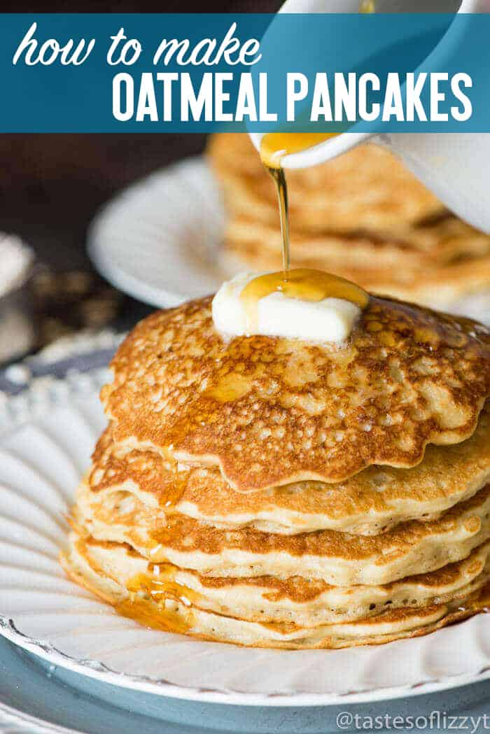 A stack of pancakes on a plate, with Oatmeal and Peanut butter