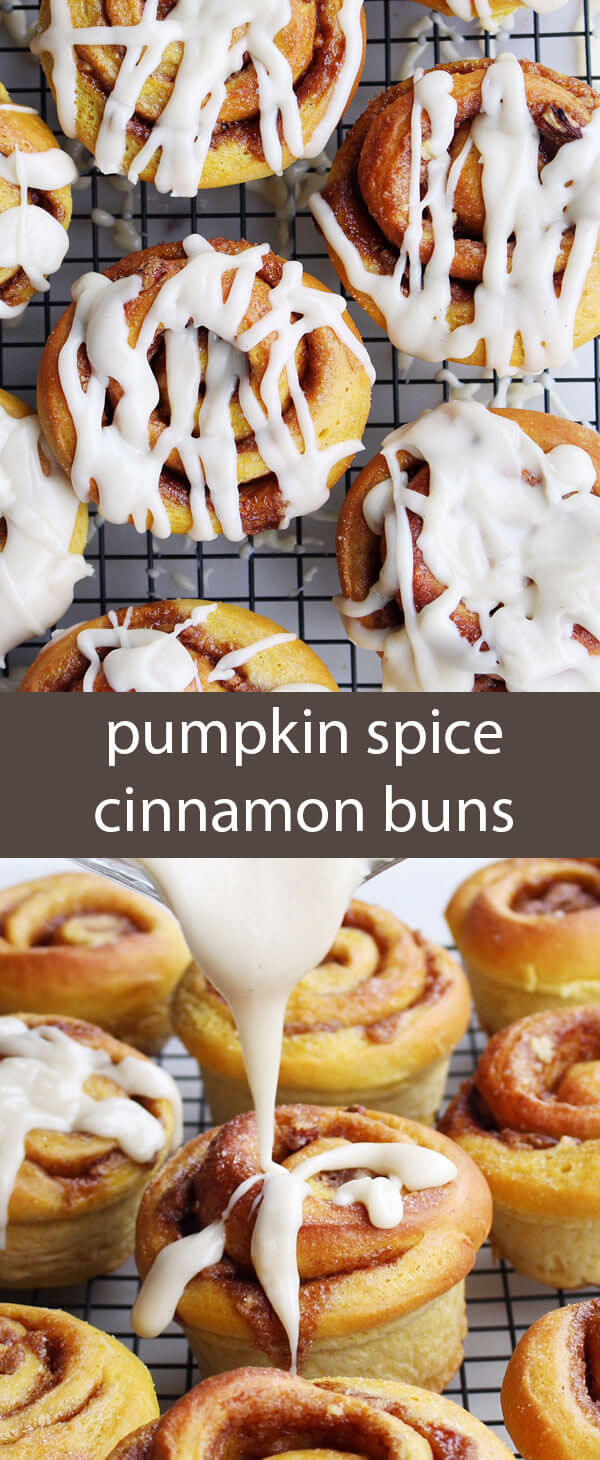 Pumpkin Spice Cinnamon Buns with Maple Cream Cheese Frosting