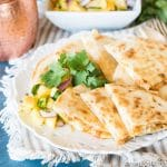 Sweet & spicy salmon quesadillas with rice, salmon and cheese warmed between golden brown tortillas. Serve alongside fresh pineapple salsa for a quick lunch solution.