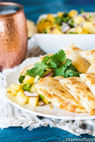 Salmon Quesadillas with Pineapple Salsa