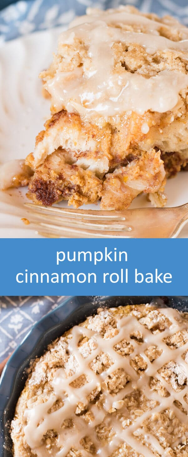 Only 15 minutes until this Pumpkin Cinnamon Roll Bake is ready for the oven. You'll love the brown sugar oatmeal streusel baked on top!