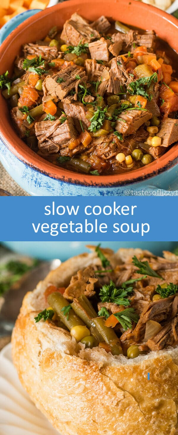 Savory Slow Cooker Vegetable Soup is a quick dinner recipe when you have leftover roast beef in the fridge. Kids will love the classic veggies that fill this beefy soup.